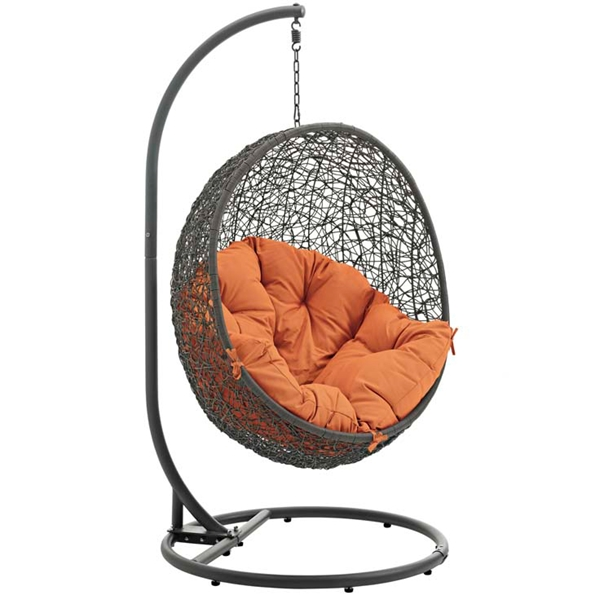 Hive Modern Outdoor Hanging Chair - Gray + Orange