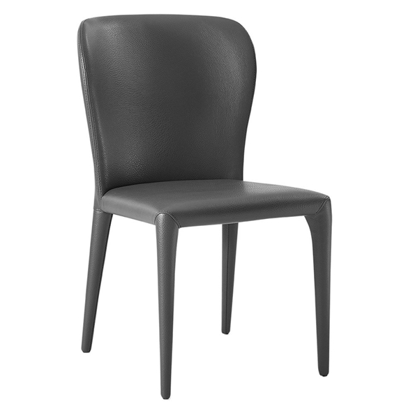 Hondo Gray Faux Leather Fully Upholstered Modern Dining Side Chair
