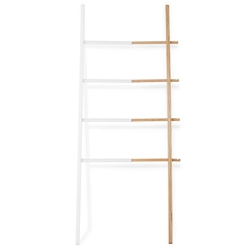 Umbra Hub White + Natural Modern Ladder Shelf
