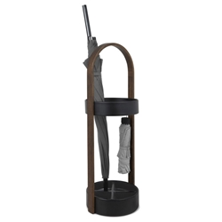 Hub Black + Walnut Modern Umbrella Stand by Umbra