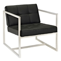 Hugo Black Vinyl Mid Century Modern Lounge Chair