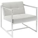 Hugo White Vinyl Mid Century Modern Lounge Chair