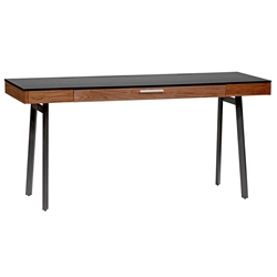 Hugo Modern Walnut Black Desk with Drawer by Euro Style