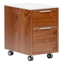 Hugo Modern Walnut + White 2-Drawer File Cabinet