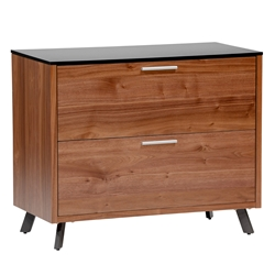 Hugo Modern Walnut + Black Lateral File Cabinet