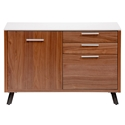 Hugo Modern Storage Unit in Walnut + White by Euro Style - Front View