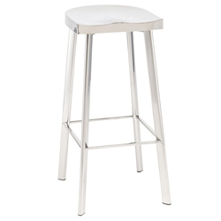 Nuevo Icon Modern Bar Stool in Polished Stainless Steel