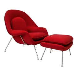 Icon Modern Lounge Chair and Ottoman in Red