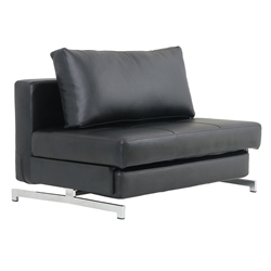 Icon Modern Black Faux Leather Loveseat Sleeper