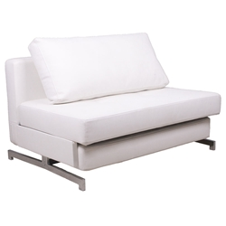 Icon Modern White Faux Leather Loveseat Sleeper
