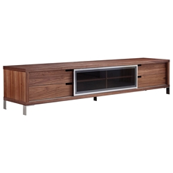 Il Duce Walnut + Metal + Glass Modern Entertainment Center