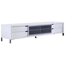 Il Duce White + Metal + Glass Contemporary Entertainment Center