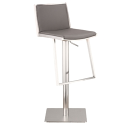 Imogen Gray + Brushed Steel Modern Adjustable Stool