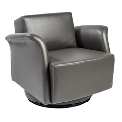 Ines Modern Gray Leatherette Swivel Lounge Chair