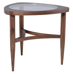 Ingram Walnut Wood + Clear Glass Modern Side Table
