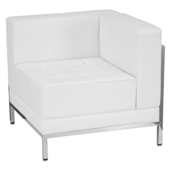 Innsbruck White Leathersoft + Steel Right Corner Sectional Unit