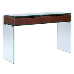 Insatiable Clear Glass + Walnut Modern Console Table