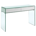 Insatiable Clear Glass + White Modern Console Table