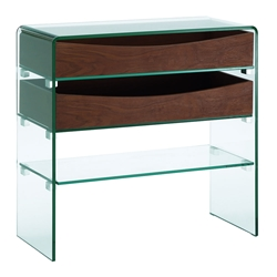 Insatiable Clear Glass + Walnut Contemporary Storage Console Table