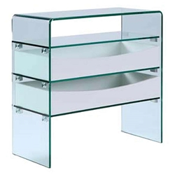 Insatiable Clear Glass + White Modern Storage Console Table