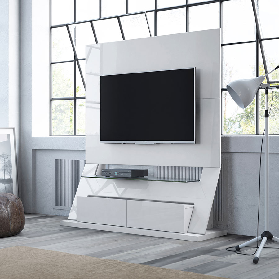 Ipswich Modern White Entertainment Center Eurway