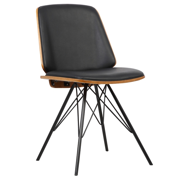 Irving Black Faux Leather + Walnut Dining Chair