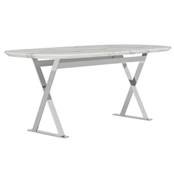 Modloft Irving White Marble Modern Dining Table