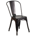 Isabella Modern Bistro Chair in Black Antique Gold