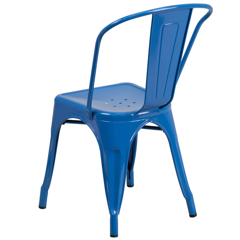 Isabella Modern Bistro Chair in Blue - Back View