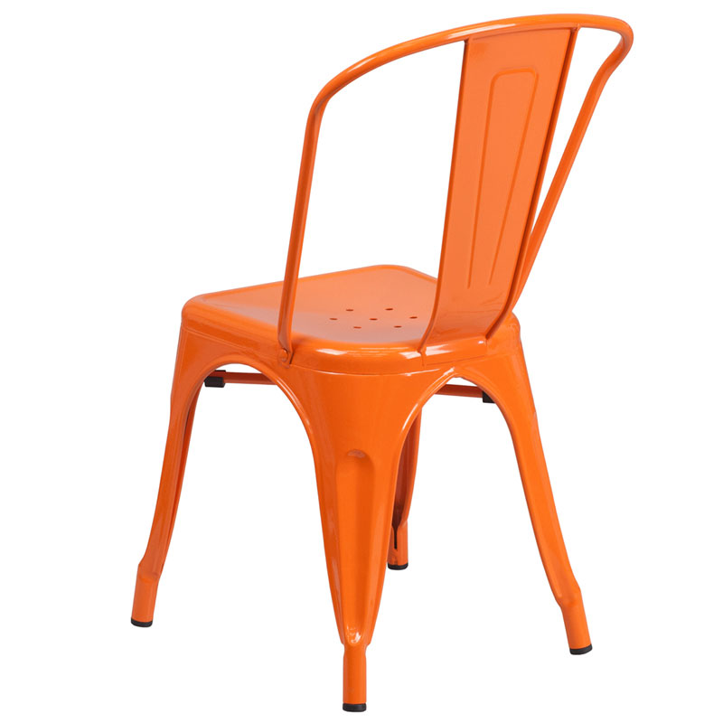 Isabella Modern Bistro Chair in Orange - Back View