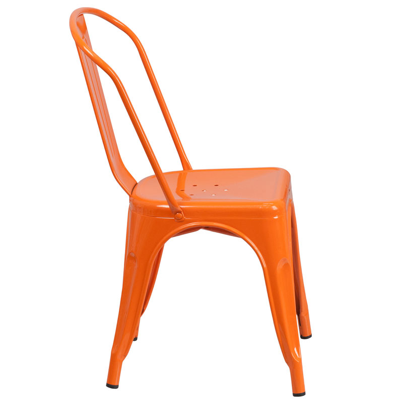 Isabella Modern Bistro Chair in Orange - Side View