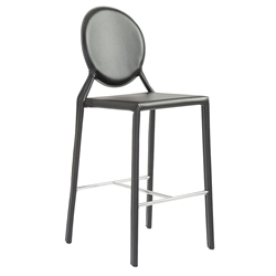 Isla Black Faux Leather + Chrome Modern Counter Stool
