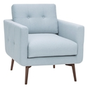 Israel Caribbean Blue Fabric + Walnut Stained Ash Wood Modern Arm Chair