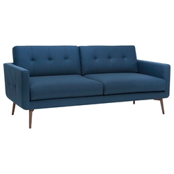 Israel Lagoon Blue + Walnut Stained Ash Wood Modern Sofa
