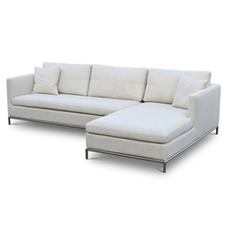 Istanbul Modern Right Facing Chaise Sectional Cream Tweed