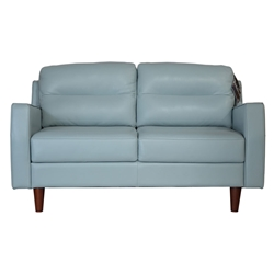Ivy Modern Loveseat in Blue Leather