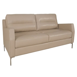 Ivy Modern Loveseat in Putty-Colored Leather