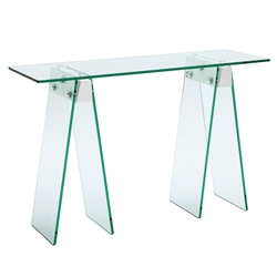 Jacinto White Lacquer + Clear Glass Modern Console Table