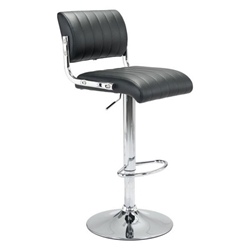 Jambo Black Faux Leather + Chromed Metal Modern Adjustable Height Stool