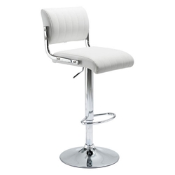 Jambo White Faux Leather + Chromed Metal Modern Adjustable Height Stool