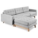 Gus* Modern Jane 2 Bi Sectional Sofa in Bayview Silver with Ash Wood Base