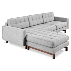 Gus* Modern Jane 2 Bi Sectional Sofa in Bayview Silver with Walnut Wood Base