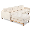 Gus* Modern Jane 2 Bi Sectional Sofa in Huron Ivory with Natural Ash Wood Base