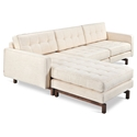 Gus* Modern Jane 2 Bi Sectional Sofa in Huron Ivory with Walnut Wood Base