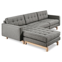 Gus* Modern Jane 2 Bi Sectional Sofa in Parliament Stone with Natural Ash Wood Base