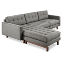 Gus* Modern Jane 2 Bi Sectional Sofa in Parliament Stone with Walnut Stained Ash Wood Base