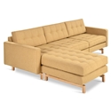 Gus* Modern Jane 2 Bi Sectional Sofa in Stockholm Camel with Natural Ash Wood Base