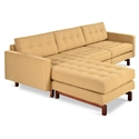 Gus* Modern Jane 2 Bi Sectional Sofa in Stockholm Camel with Walnut Stained Ash Wood Base