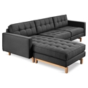 Gus* Modern Jane 2 Bi Sectional Sofa in Urban Tweed Ink with Natural Ash Wood Base
