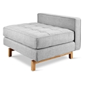 Gus* Modern Jane 2 Lounge with Bayview Silver Fabric and Natural Ash Wood Base